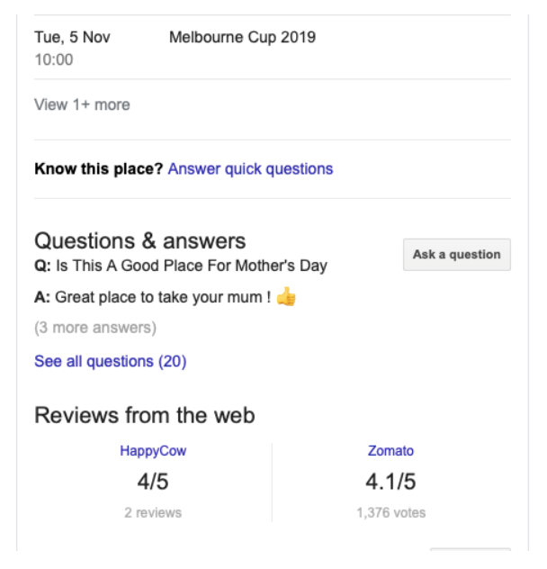 Example of Q&As on Google My Business