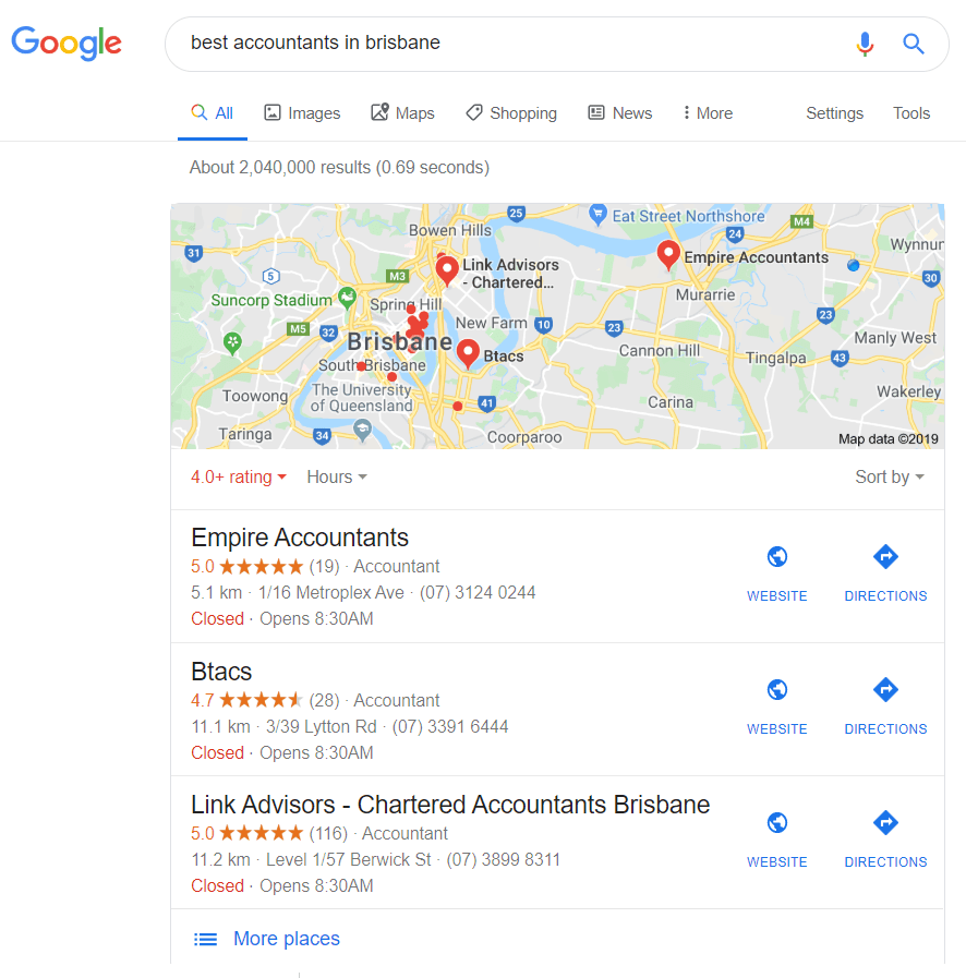 Google Search Results: Local Map Pack for Accounting in Brisbane