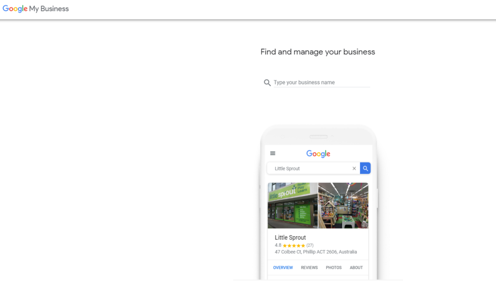 Signing up to Google My Business is easy