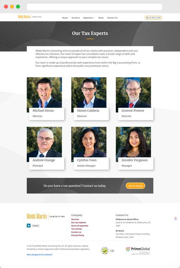 Webb Martin Consulting - Mockup - Portfolio page