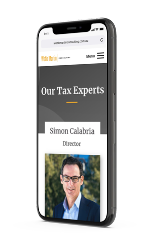 Webb Martin Consulting team page mobile mockup