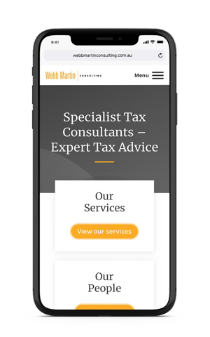 Webb Martin Consulting homepage mobile mockup
