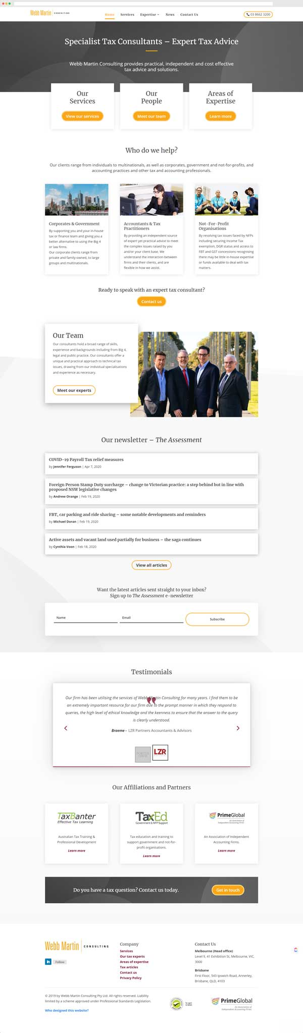 Webb Martin Consulting Homepage Mockup