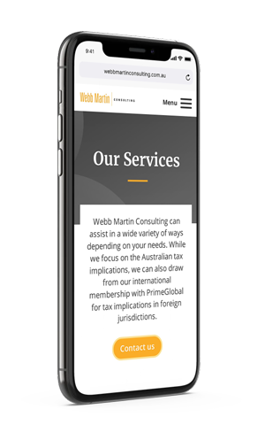 Webb Martin Consulting services page mobile mockup