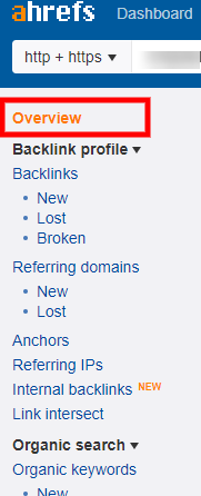 ahrefs backlink overview