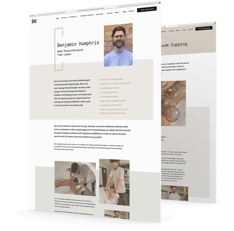 Results Based Physio - Mockups by Amplified Marketing