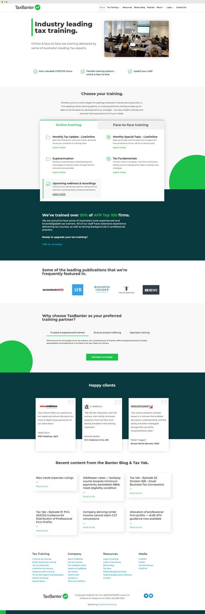 TaxBanter website homepage screenshot by Amplified Marketing