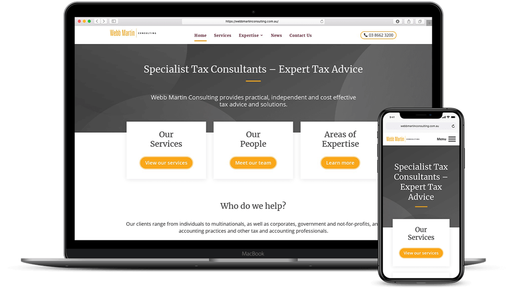 Webb Martin Consulting - Tax Experts - laptop and iPhone mockup