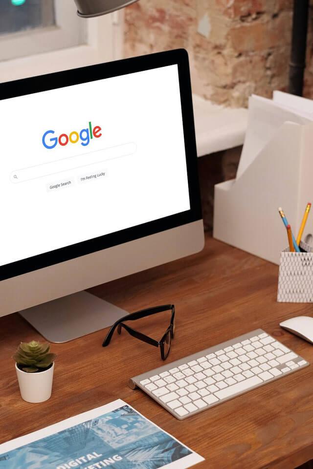 Google mockup on iMac
