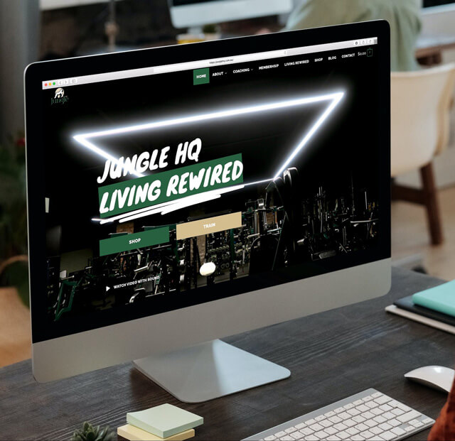 Jungle HQ website mockup on iMac