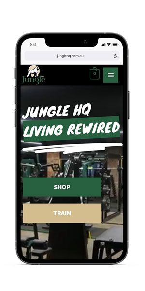 Jungle HQ iPhone mockup - Living Rewired page by Amplified Marketing