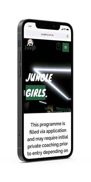 Jungle HQ iPhone mockup - Jungle Girls page by Amplified Marketing
