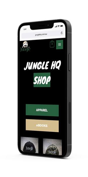 Jungle HQ iPhone mockup - shop page