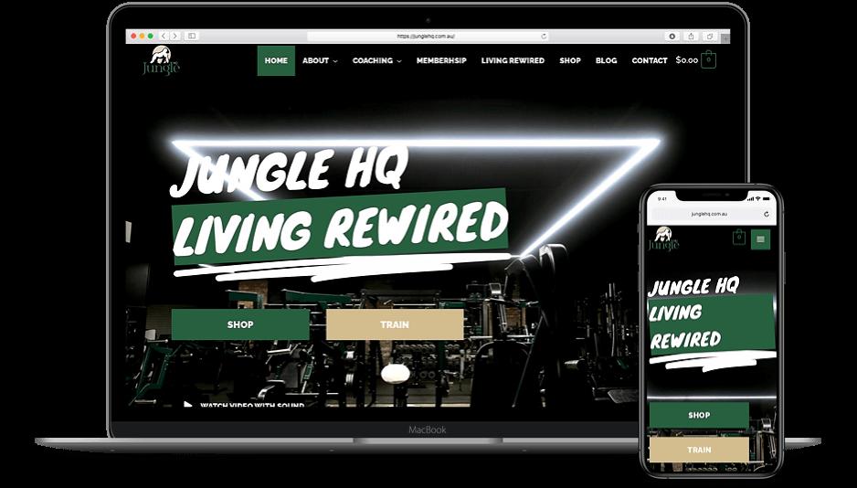 Jungle HQ mockup - laptop and iPhone