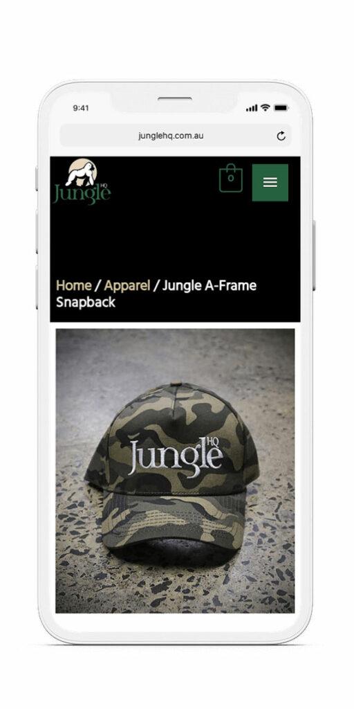 Jungle HQ Shop mockup on iPhone