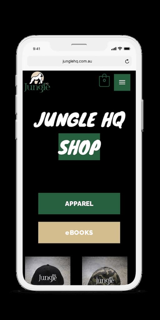 Jungle HQ iPhone mockup - shop