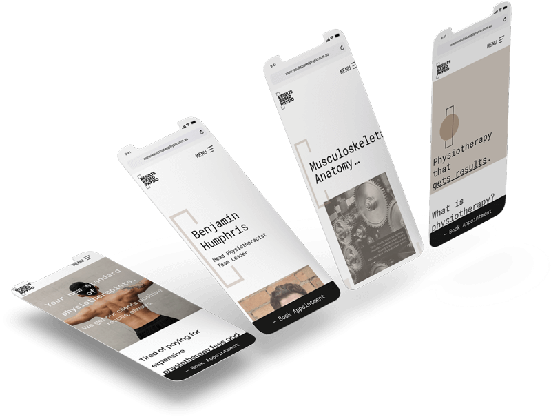Results Based Physio iPhone mockups