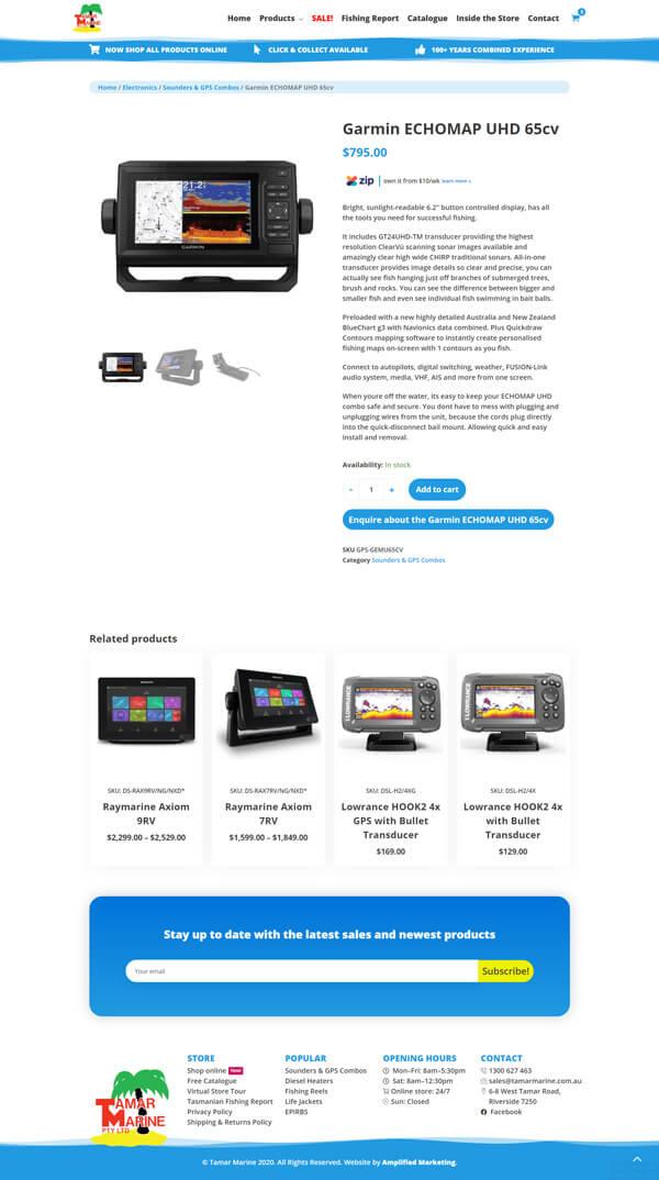 Tamar Marine product page screenshot