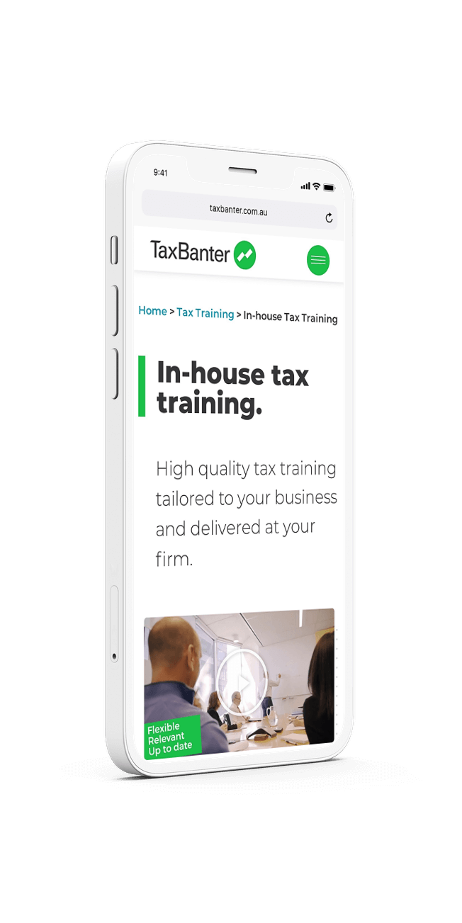 TaxBanter website mockup on iPhone - by Amplified Marketing