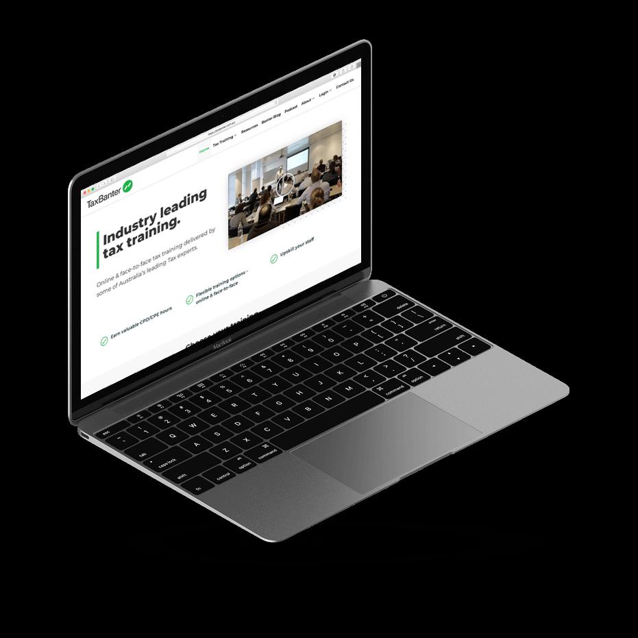 TaxBanter website mockup on iMac - by Amplified Marketing