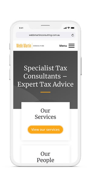 Webb Martin Consulting mockup on IPhone by Amplified Marketing - home page
