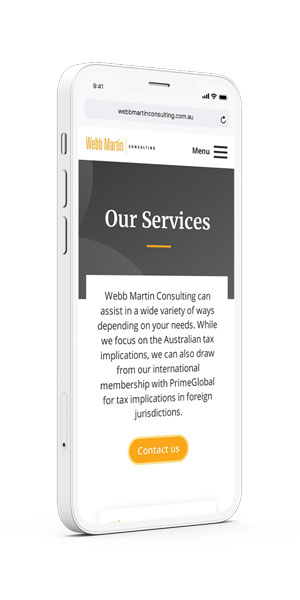 Webb Martin Consulting mockup on IPhone by Amplified Marketing - Services page