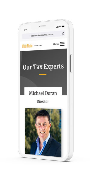 Webb Martin Consulting mockup on IPhone by Amplified Marketing